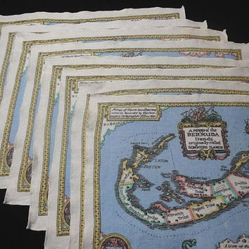 1980s Vintage Set of 8 Linen Place Mats, Bermuda Map from 1622, 19 x 14 Inches, Pretty Colors & Details, Vintage Table Linens, Home Decor