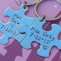 His and Her Puzzle Piece Keychain Set  With Date - Couples,Wedding, Anniversary Key chain