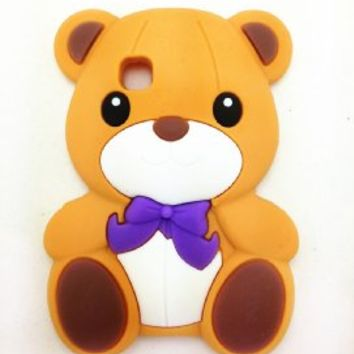 Brown Cute Lovely 3D Teddy Bear Case Cover For Tracfone LG 840G LG840G Dynamic