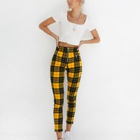 Buy Our Pearl Pant in Yellow And Black Check Online Today! - Tiger Mist