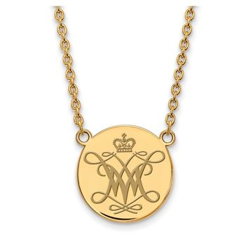 NCAA 14k Gold Plated Silver William and Mary Lg. Enamel Disc Necklace