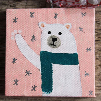Polar Bear Mini Canvas Holiday Ornament, Handmade Christmas Ornament, Acrylic Painting of Polar Bear, Hand Painted Ornament, Mini Painting