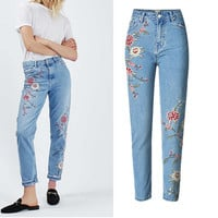 2017 New Fashion Women Embroidered Jeans Pencil Pants Flower Casual High Waist Denim Trousers -MX8