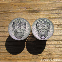 Sugar Skull Shape-Shifter Plugs - 7/16, 1/2, 9/16, 5/8, 3/4, 7/8, 1 Inch - CUSTOMIZABLE