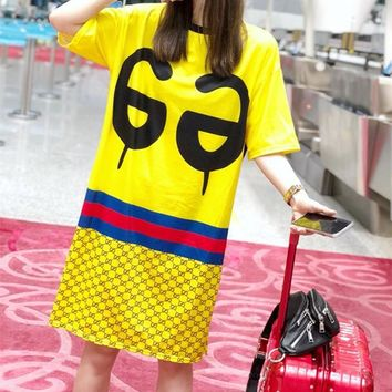 Gucci Print Middle Sleeve  Letter  Casual Fashion Women  Dress