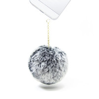 Gray & White Super Soft 8cm Rabbit Fur Ball Anti Dust Plug for iPhone Samsung HTC Smartphone Cell Phone Mobile Accessories