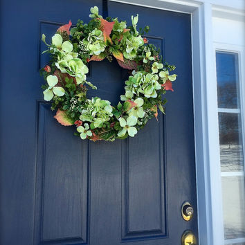 Hydrangea Wreaths Green Pink Door Decor Spring Hydrangea Wreath Summer Decor Green