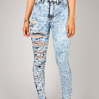 Ripped Off High Waist Skinnys   Jeans at Pink Ice