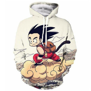 Anime Dragon Ball Z Pocket Hooded Sweatshirts Cute Kid Goku 3D Hoodies