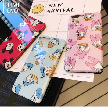 Luxury Cartoon Mickey Minnie Mouse Case For iPhone 6 6s Plus Cover Phone For iPhone 7 Plus Cases Daisy Duck Capa Fundas Soft TPU