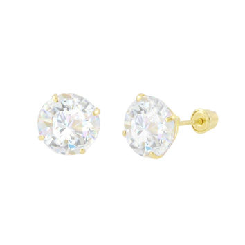 Round CZ Studs Screw Back Earrings Solid 14k Yellow Gold Clear Basket Set