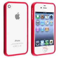 Amazon.com: Everydaysource For Apple iPhone 4 and 4S Bumper TPU Case , Red Shinny: Cell Phones & Accessories