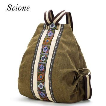 Canvas National Tribal Ethnic Embroidered Floral Backpack