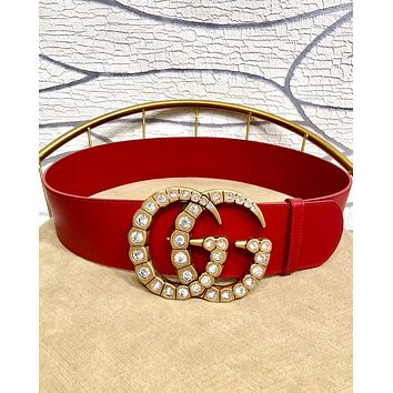 GUCCI Tide brand women's diamond-studded double G buckle belt red