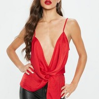 Missguided - Red Satin Twist Front Cami Top
