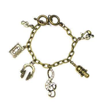 Pop Star Music Charms Bracelet DJ Headphones Microphone Crystal Treble Clef Bangle BD05