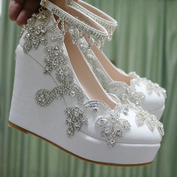 Fashion rhinestone wedges pumps heels wedding shoes for women white platform wedges high heels wedding shoes white wedges shoes