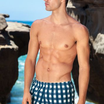 Sauvage Mens Swimwear Manhattan Plaid Swim Trunks - Navy
