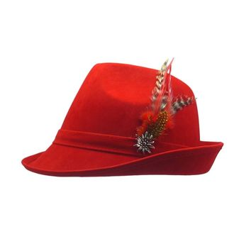 """""""German Hunter"""" Red Hat Fedora with Edelweiss & Feather"""