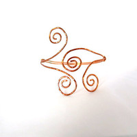 Copper tribal armlet, double swirl upper arm bracelet, greek goddess cuff, hammered copper cuff