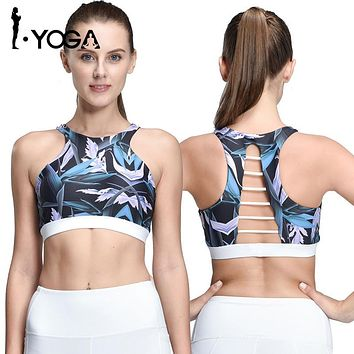 2017 Rushed Strappy Bra Cropped Women Yoga Bra Athletic Built-in Pad Sports For Push Up Tank Top For Girls Ropa Deportiva G002