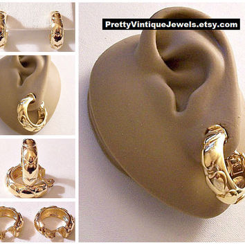 Monet Heart Band Hoops Clip On Earrings Gold Tone Vintage Large Round Wide Polished Ring Dangles