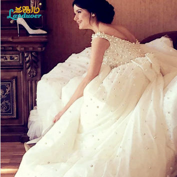 Gorgeous Ball Gown Cap Sleeve Square Collar Pearls Wedding Dress Charming Bow Chapel Train