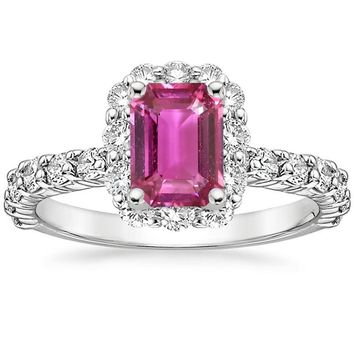ANI 18K White Gold (AU750) Women Wedding Ring Certified Natural Pink Sapphire Oval/Rectangle Shape Engagement Diamond Halo Ring