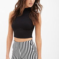 FOREVER 21 High-Waisted Striped Shorts Cream/Black