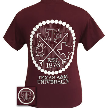 Texas A&M Aggies Arrow Pearls Logo Girlie Bright T Shirt