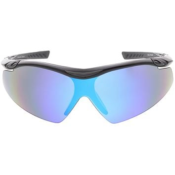 Half Frame Performance Sports Wrap Mirrored Lens Sunglasses C795