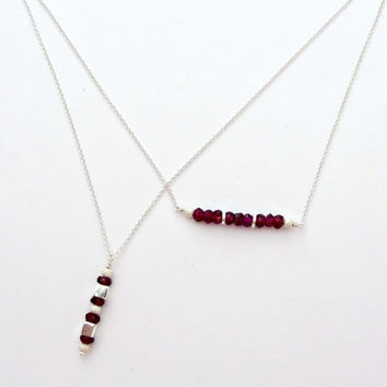 Sterling Silver Garnet Mini Gemstone Vertical Bar Necklace - Layering Necklace - Beaded Bar Necklace - January Birthstone