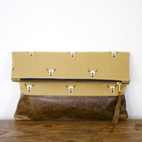 Cattle Skull - Old West Fold Over Clutch Distressed Leather Bottom