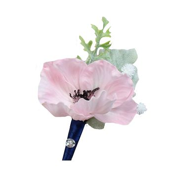 MADE IN USA-Real touch poppy boutonniere-Pick flower and ribbon color