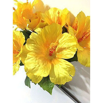 Sunny Yellow Silk Hibiscus Artificial Flower Bush With No Pot (Centerpieces /We