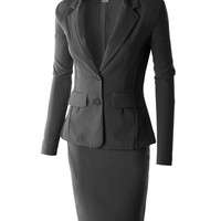 LE3NO Womens Classic Slim Fit Blazer and Skirt Suit Set