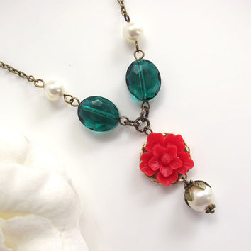 Mod Style Green Oval Faceted Glass Beads, Nature Inspired Spring Sakura Red Flower, Swarovski Crystal Pearls Necklace