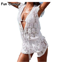Fun Orange New Women's Summer Lace Jumpsuit Shorts Plus Size Sexy club Women Overalls Fashion Lace Playsuits