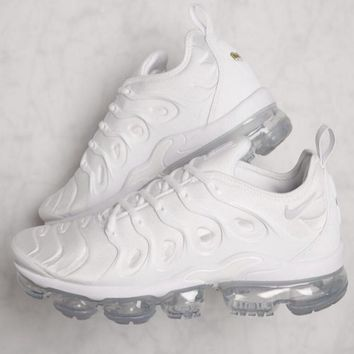 2018 Original Nike Air Vapormax Plus Triple White Running Sneakers Sport Shoes