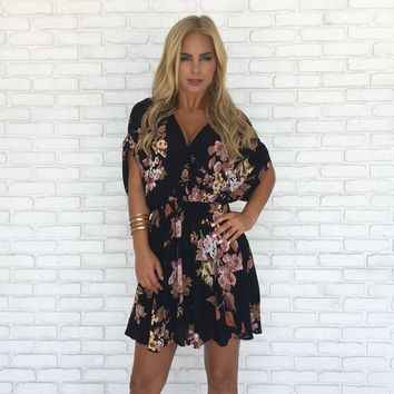 In Nature Floral Dress in Black