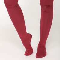 Warm Me Up Thigh High Socks - Burgundy