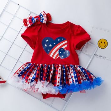 4th Of July Short Sleeve Stars Print Dress+Headbands Set Outfit For Toddler Baby