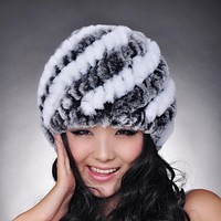 Fashion Cap Lady Winter Hat Women Warm Beanies 100% Genuine Fur Cap