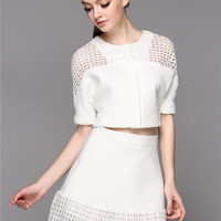 Short Sleeve Cutout Cropped Top with Mini A-Line Skirt Set