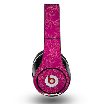 The Pink and Yellow Floral Vine Pattern Skin for the Original Beats by Dre Studio Headphones
