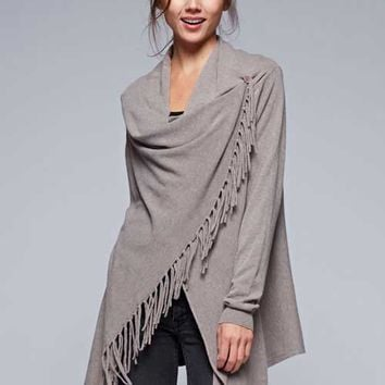 Love Stitch Carys Fringed Shawl Sweater with Button in Brown IMP5797-BROWN