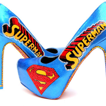 Superman Heels with Swarovski Crystals