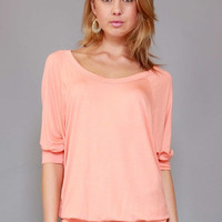 Banded Scoop Neck Top - Peach