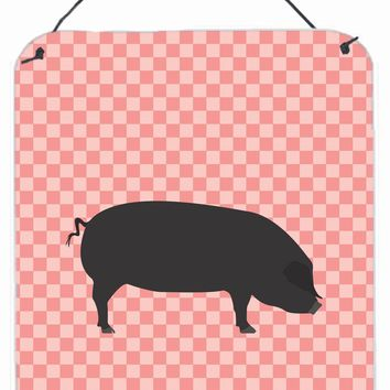 Devon Large Black Pig Pink Check Wall or Door Hanging Prints BB7931DS1216