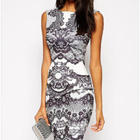 Casual Floral Print Sleeveless Bodycon Mini Dress